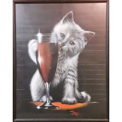 Fotolijst katten tekening 28 x 35 cm