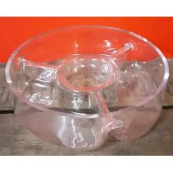 Schaal glas met 3 vakken 25 cm doorsnee 8 cm hoog