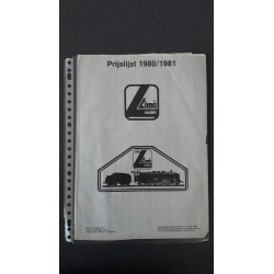 Lima folders - flyers - informatie - Prijslijst 1980/1981