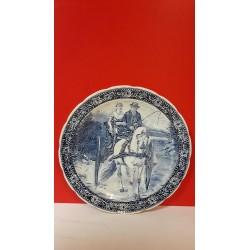 Delfts blauwe bord Echtpaar op kar met paard Frieze klederdracht 40 cm