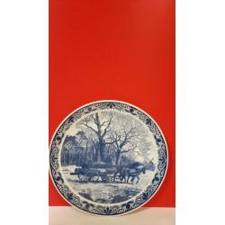 Delfts blauwe bord Bosgezicht kar met hout en molen 40 cm