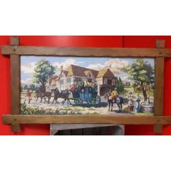 Borduurwerk achter glas in houten lijst