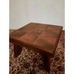 Eiken salontafel met plavuizen 65 x 65 cm - 40 cm hoog